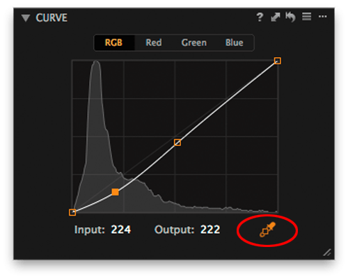 screenshot of Curve tool in Capture One