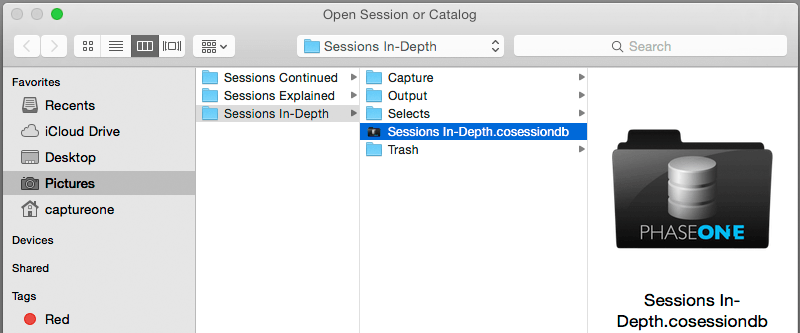 finder, open session
