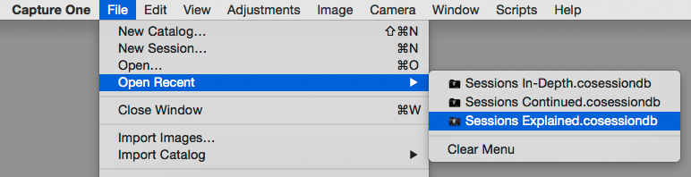 capture one, open recent, file menu