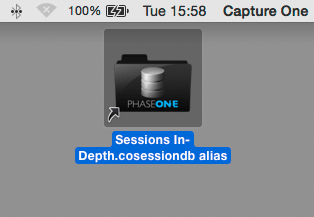 finder, alias to session database file for quick access