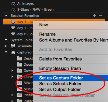 set as capture folder