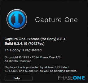 CO8Mac-COAboutMenuExpressSony, capture one 8 modes