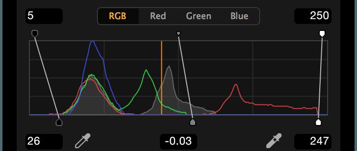 Levels tool, RGB, shop
