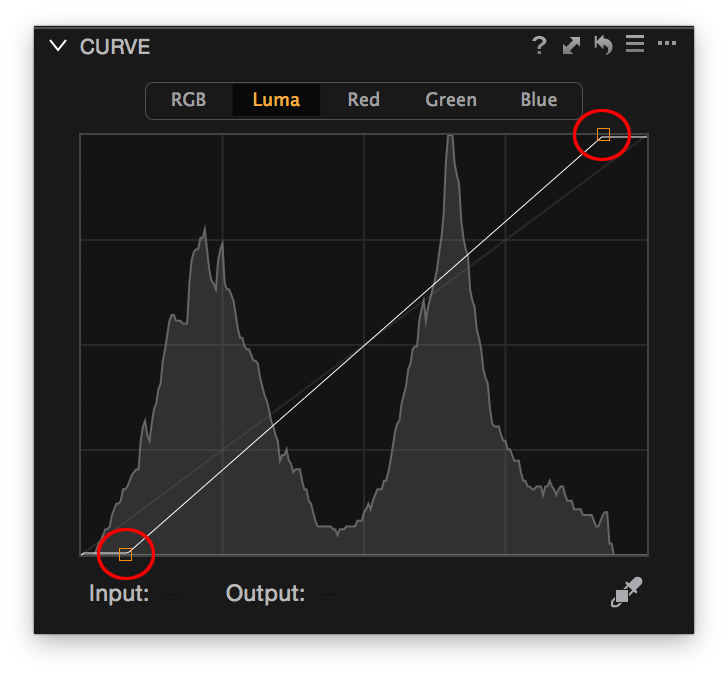 Capture One Curve tool, source endpoint adjustment