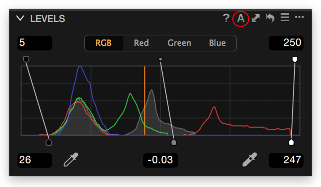 Levels tool, RGB channel, Auto Adjust