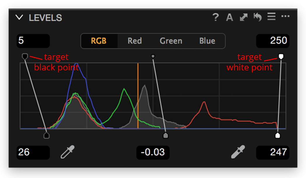 Levels tool, RGB channel, target levels
