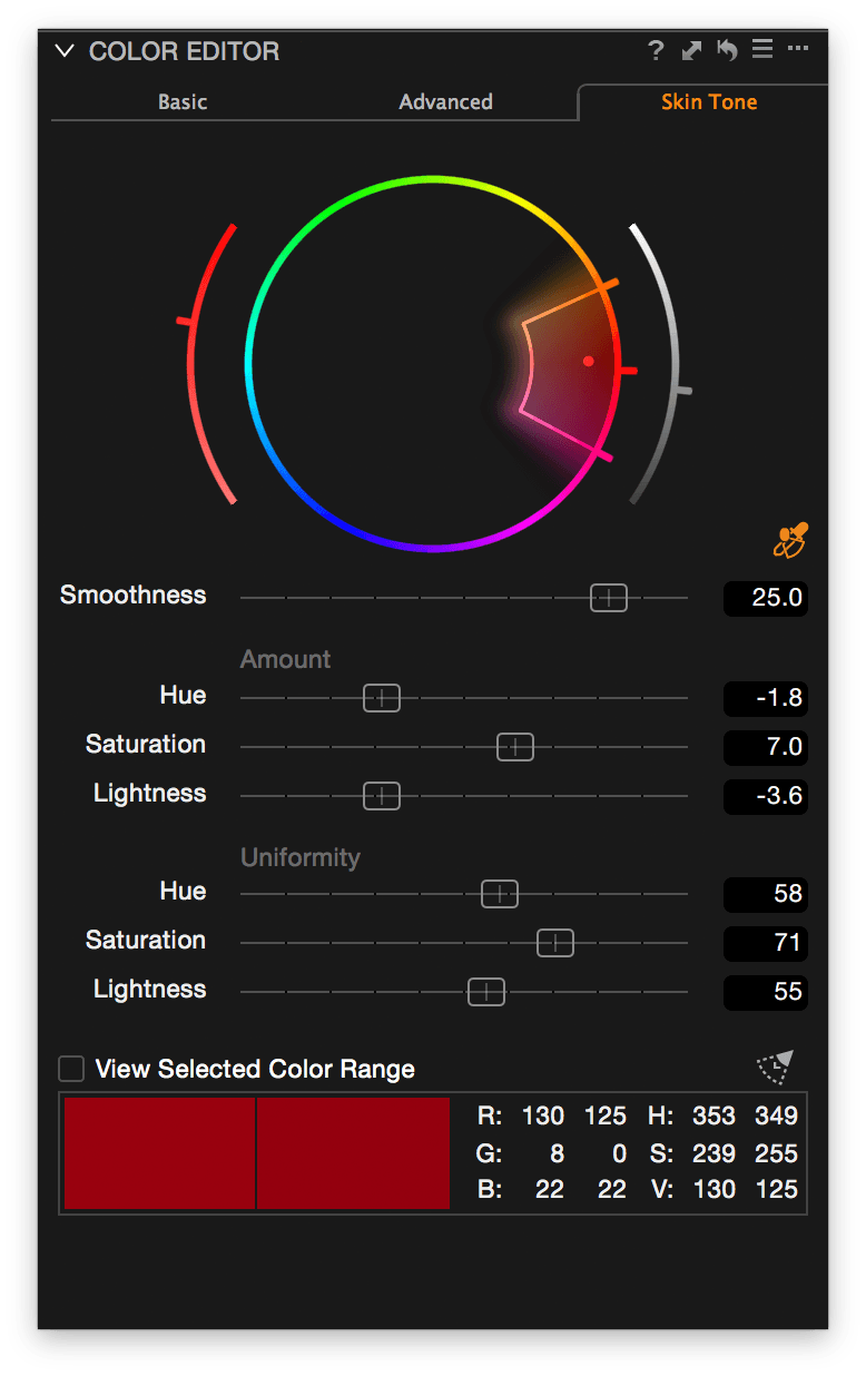 Capture One, Color Editor, Skin Tone