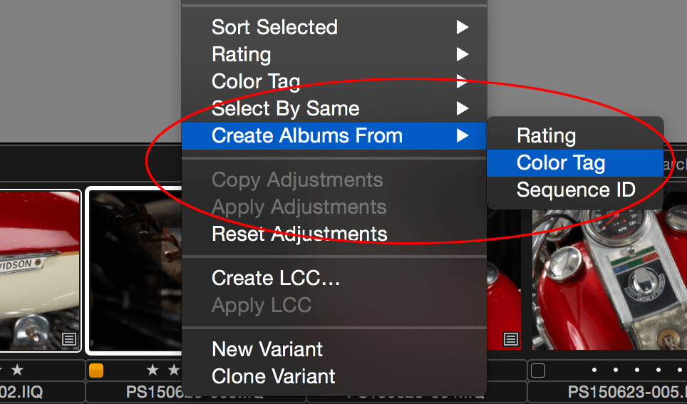 Capture One, Create Albums From, Color Tag