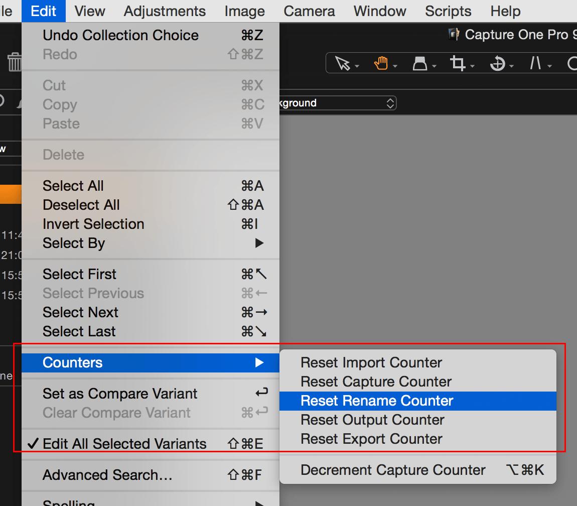Capture One, Edit menu, Counters, Reset