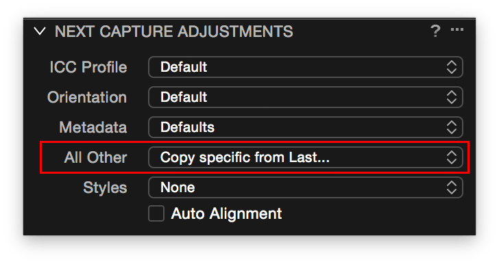 Capture One, Next Capture Adjustments, All Other setting