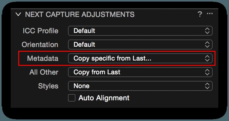 Capture One, Next Capture Adjustments, Metadata setting, capture one pro 9.1 review