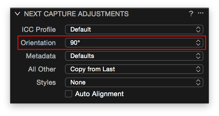 Capture One, Next Capture Adjustments, Orientation setting