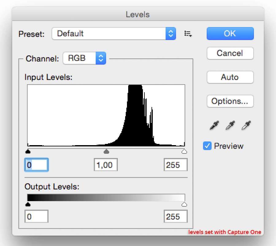 levels corrected in Capture One