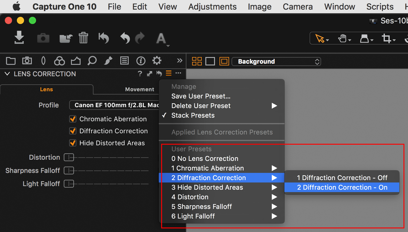 Capture One Lens Correction presets