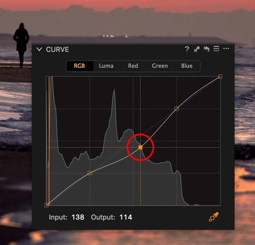 capture one curve tool with curve points
