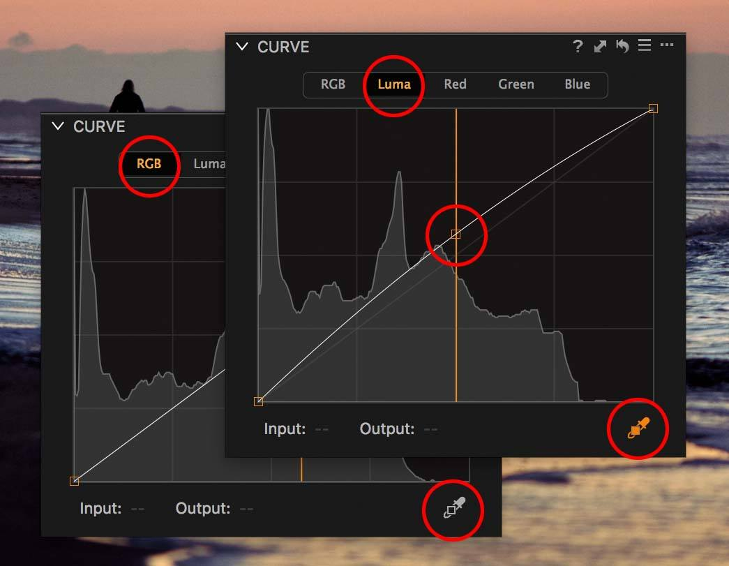 capture one curve tool with curve points and curve point picker