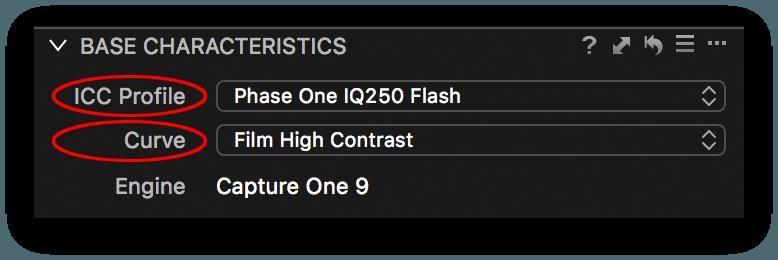capture one base characteristics tool