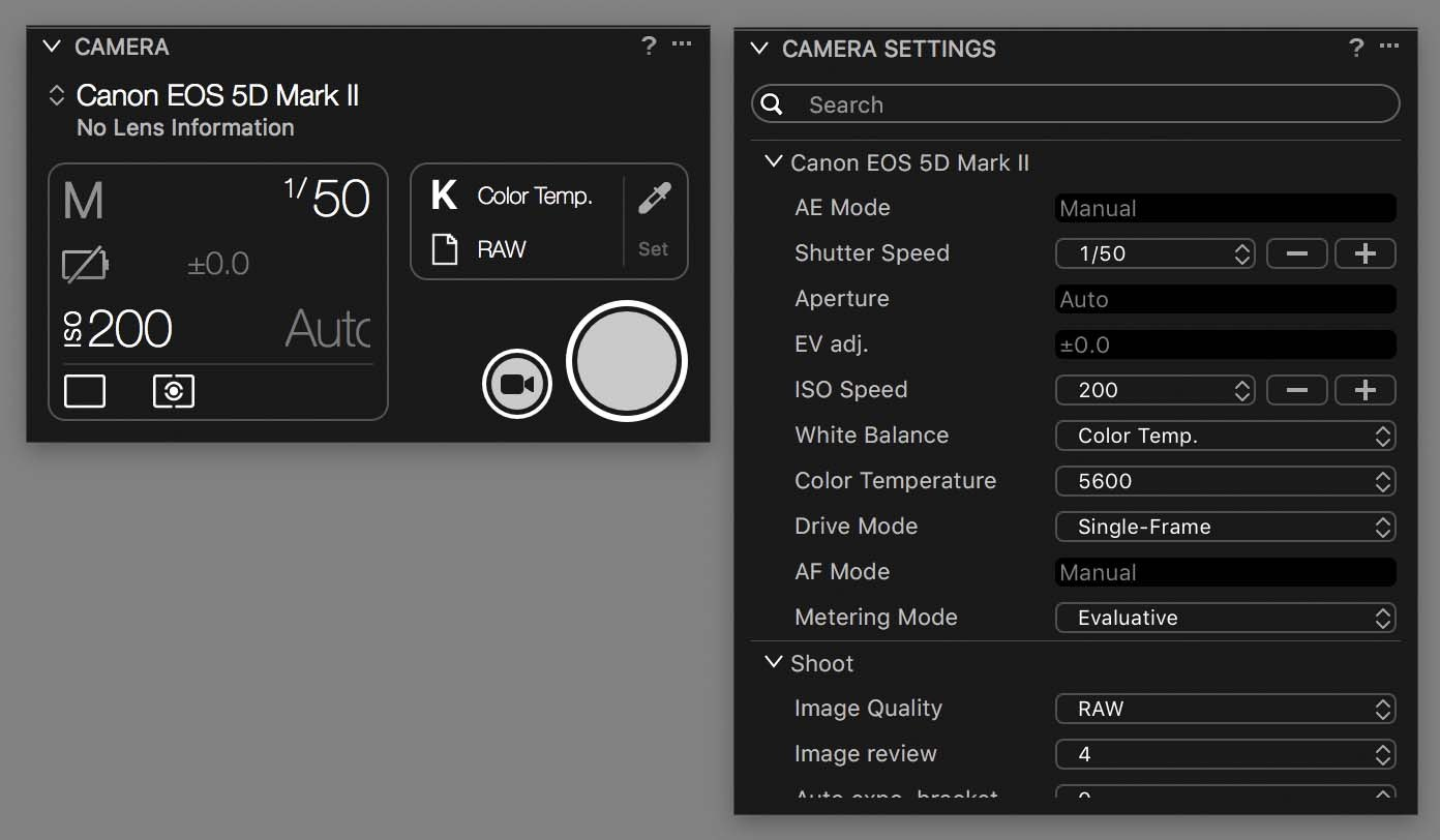 capture one camera and camera settings tools