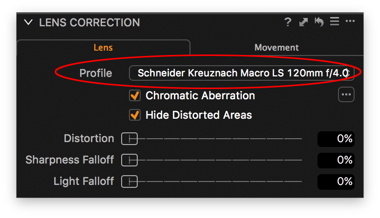 capture one lens correction tool