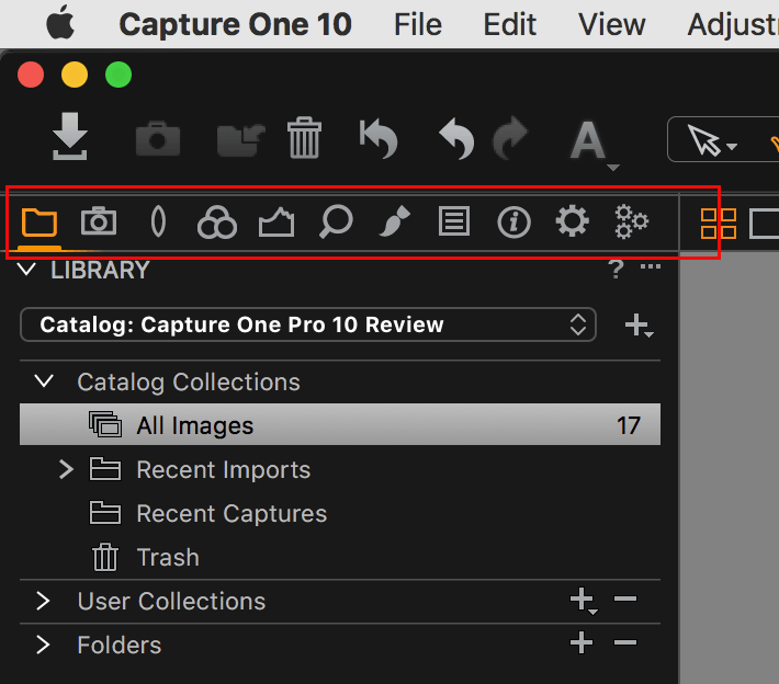 capture one pro 10, new default tool tabs