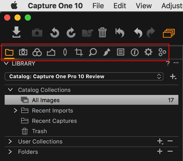 capture one pro 10, old CO9 default tool tabs