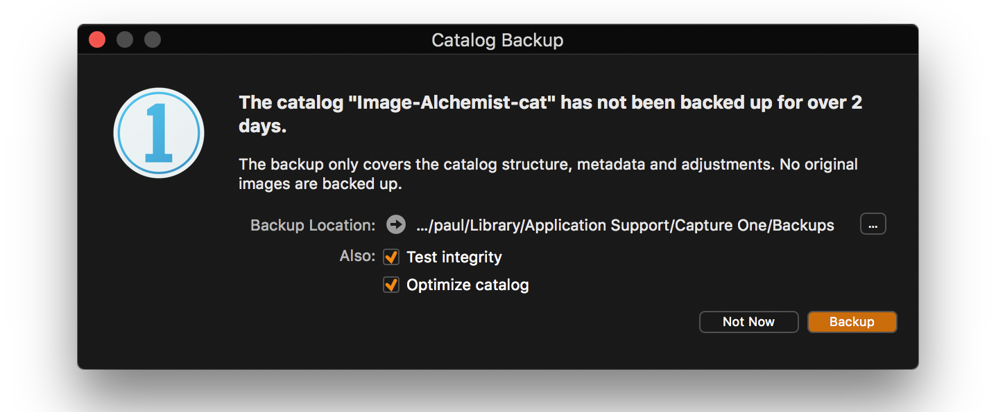 backup your catalog, capture one
