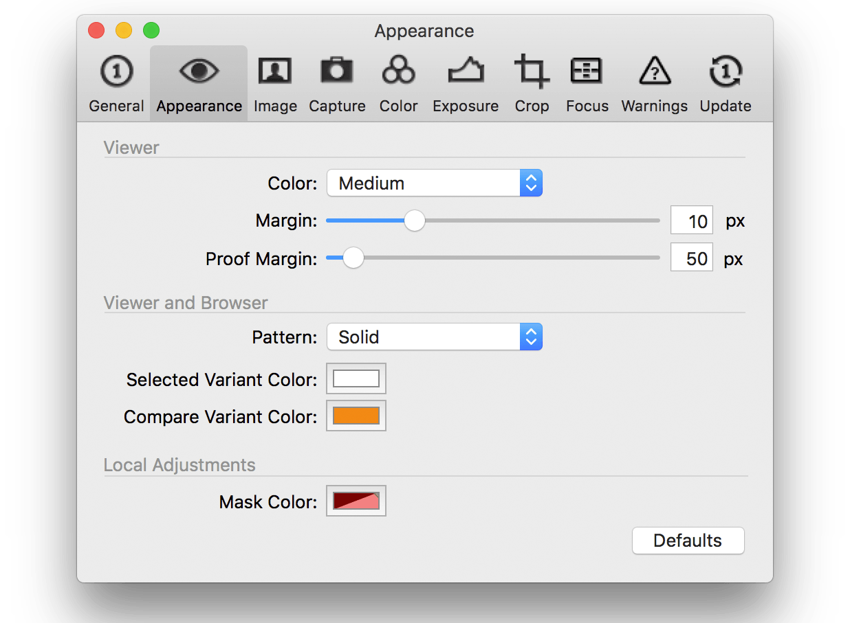capture one preferences, appearances tab, co pro 10