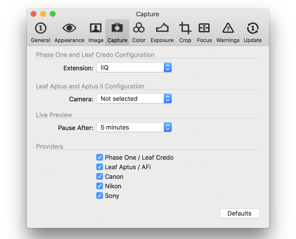 capture one pro 10, preferences, capture tab