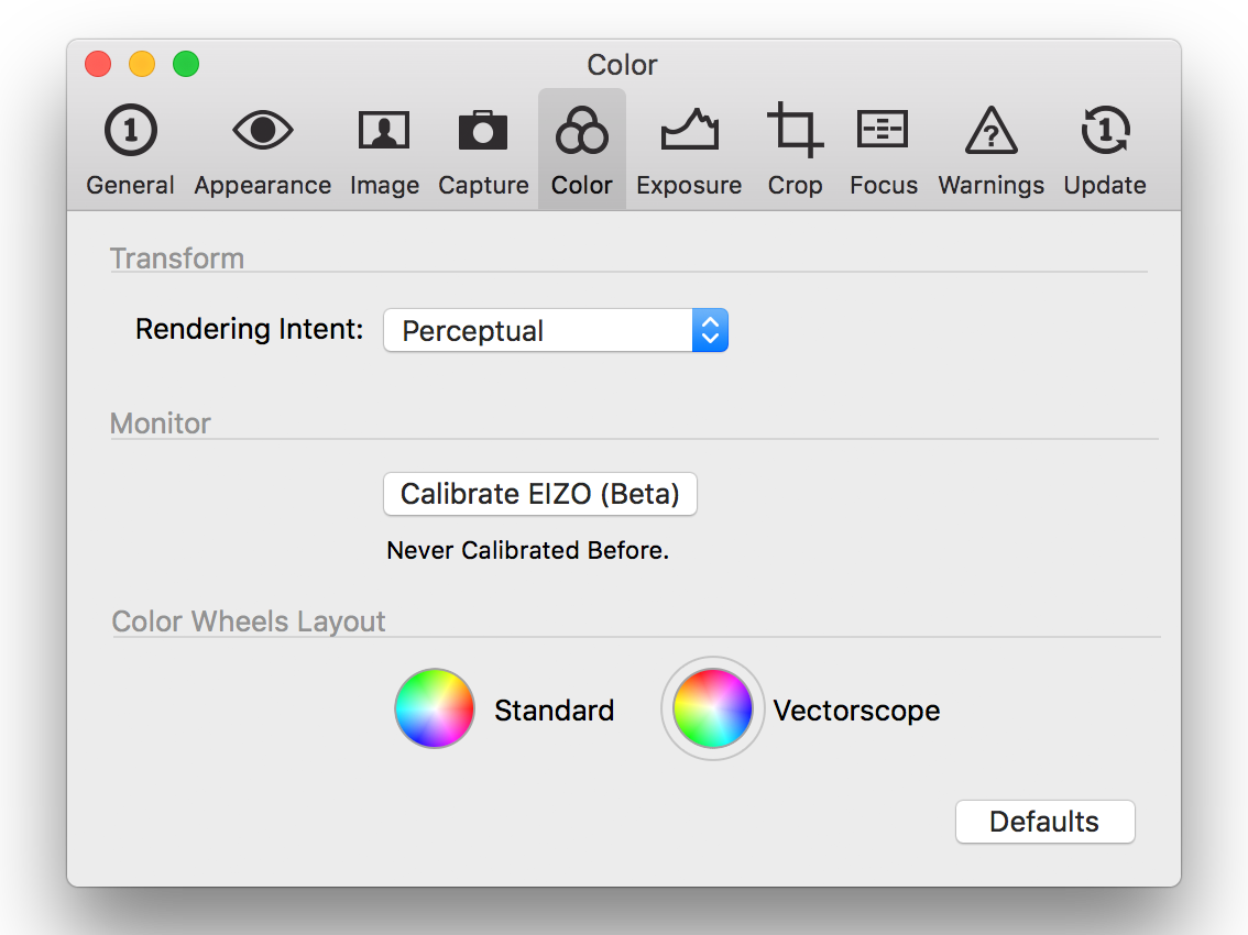 capture one pro 10, preferences, color tab