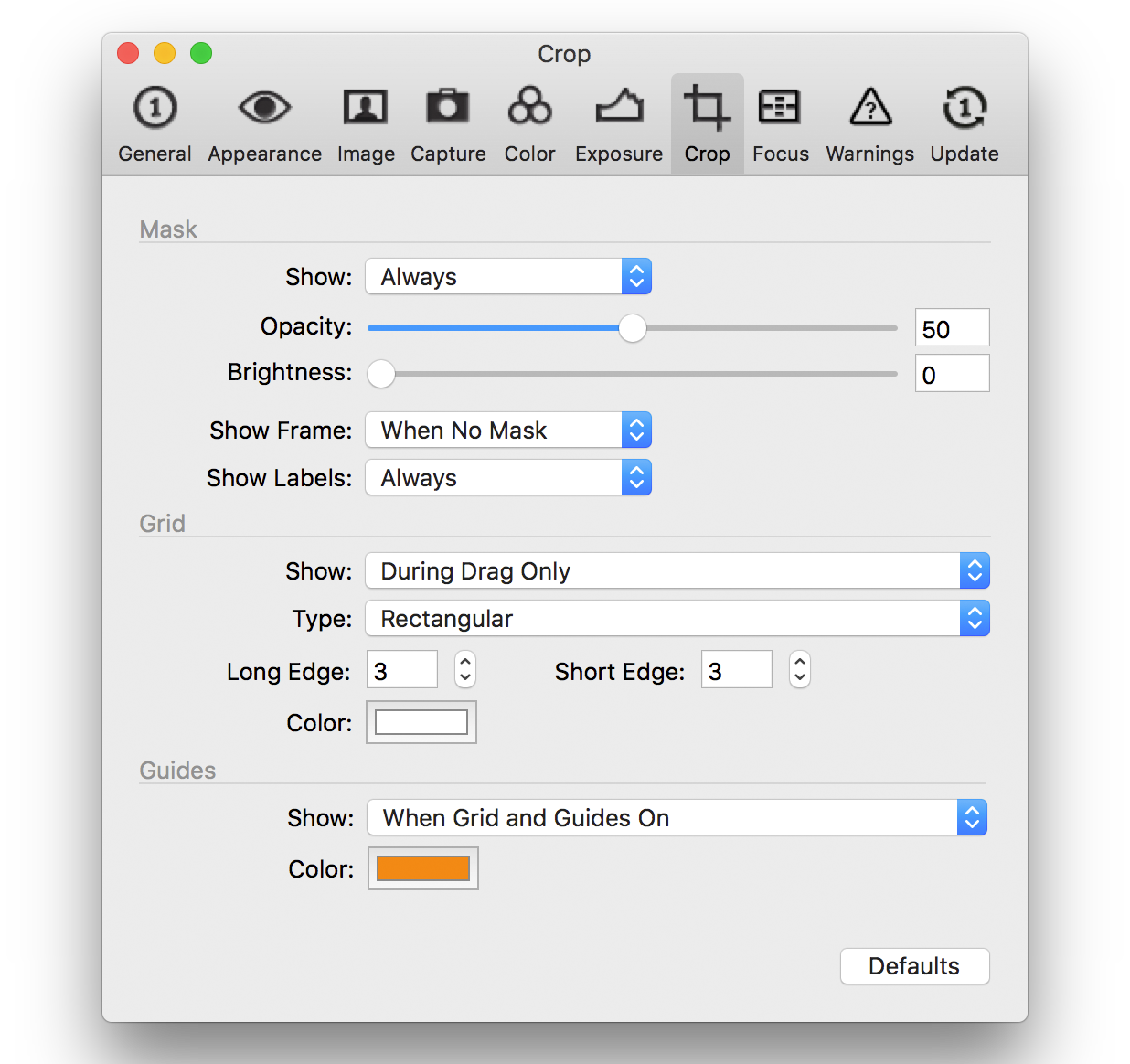 capture one composition tools, preferences, crop tab