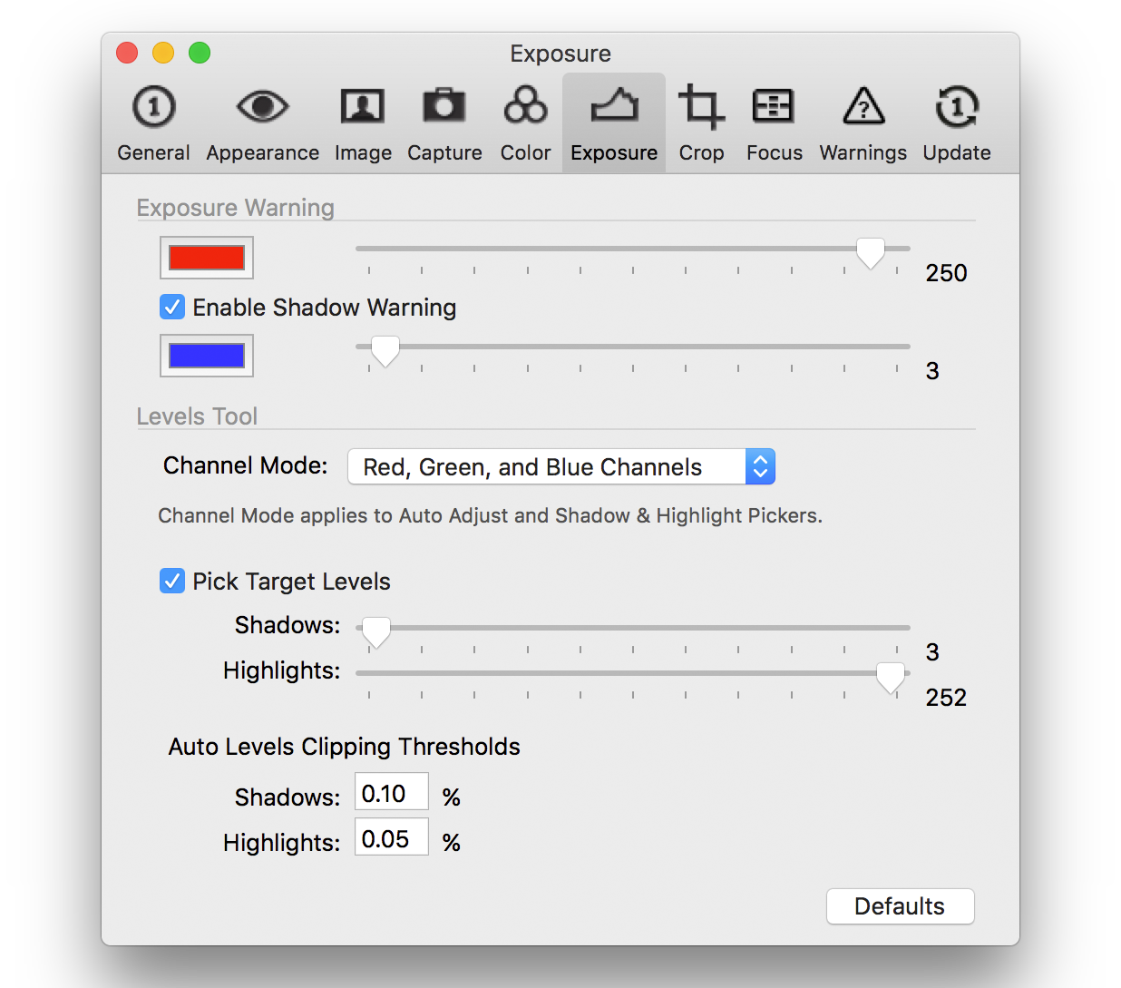 capture one pro 10, preferences, exposure tab
