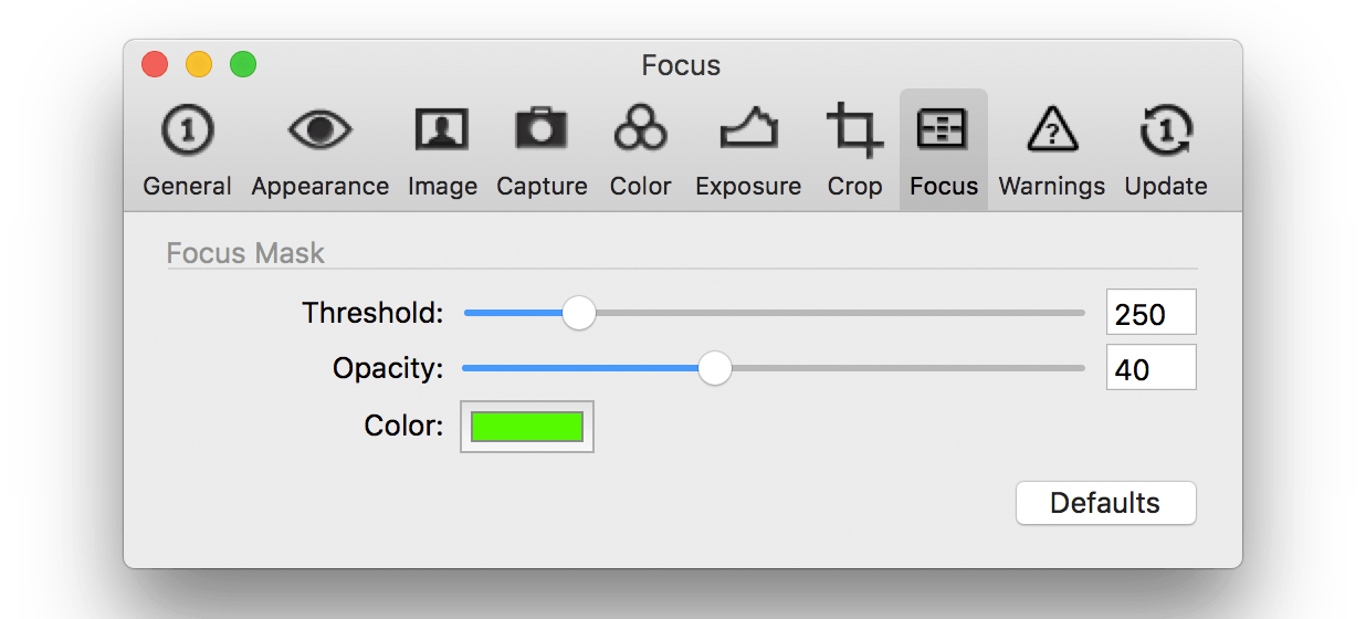 capture one pro 10, preferences, focus tab