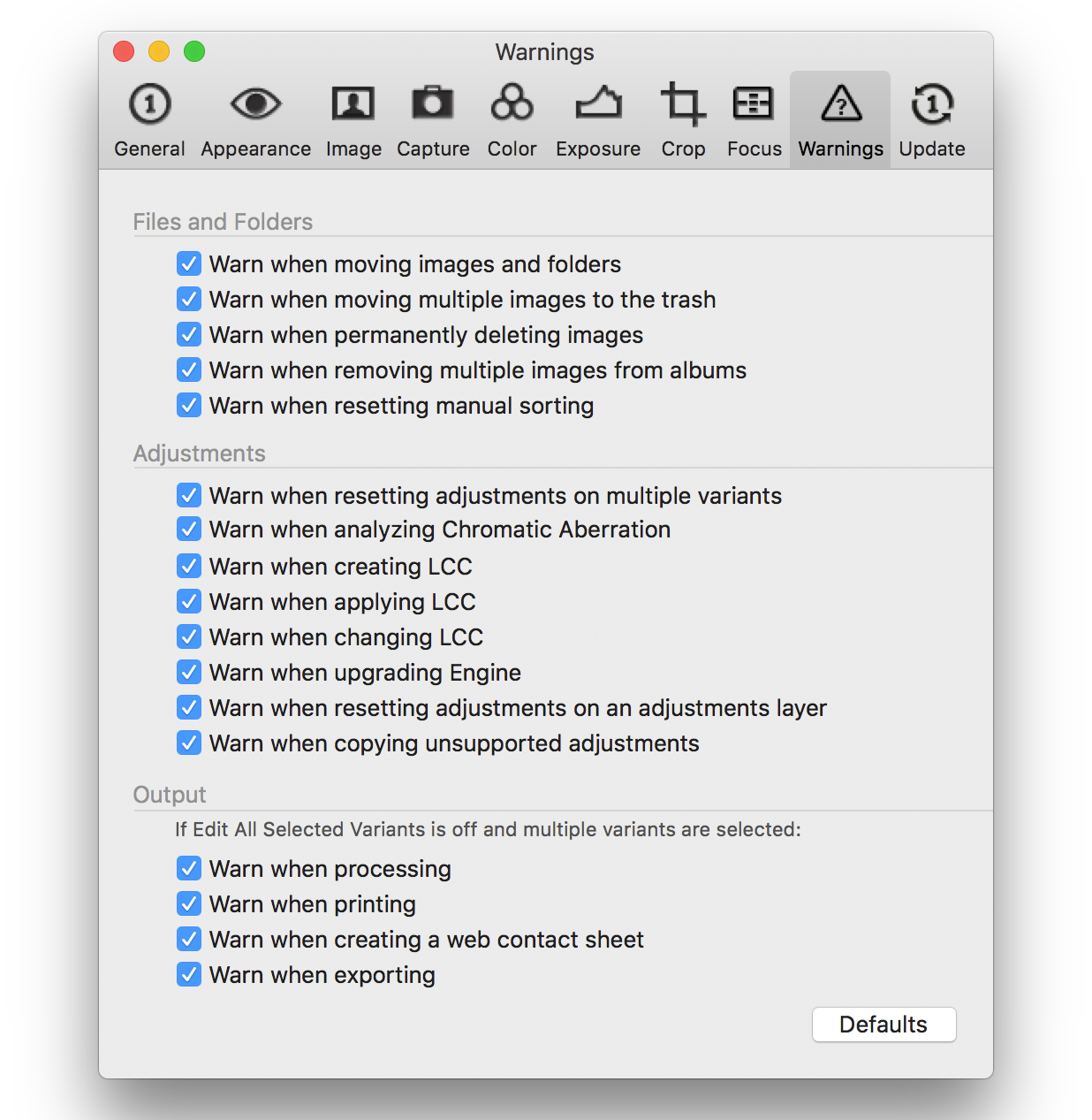 capture one pro 10, preferences, warnings tab