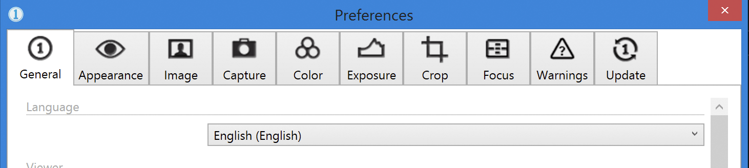 capture one pro 10, windows, preferences, general tab