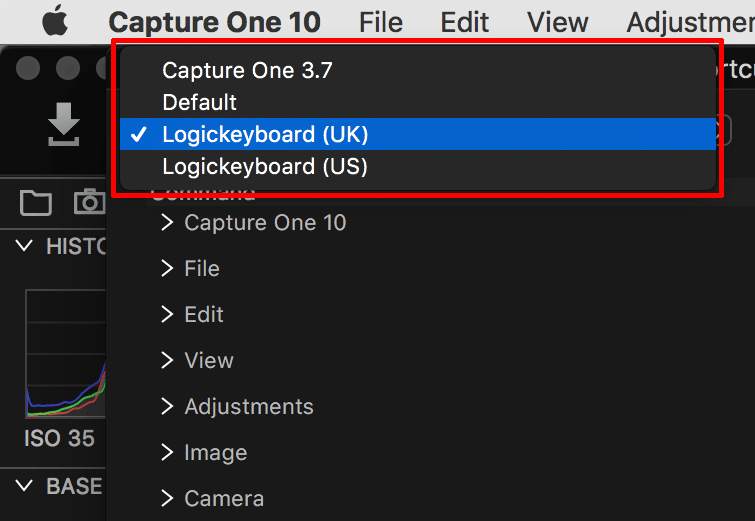 using logickeyboard for capture one, keyboard shortcuts