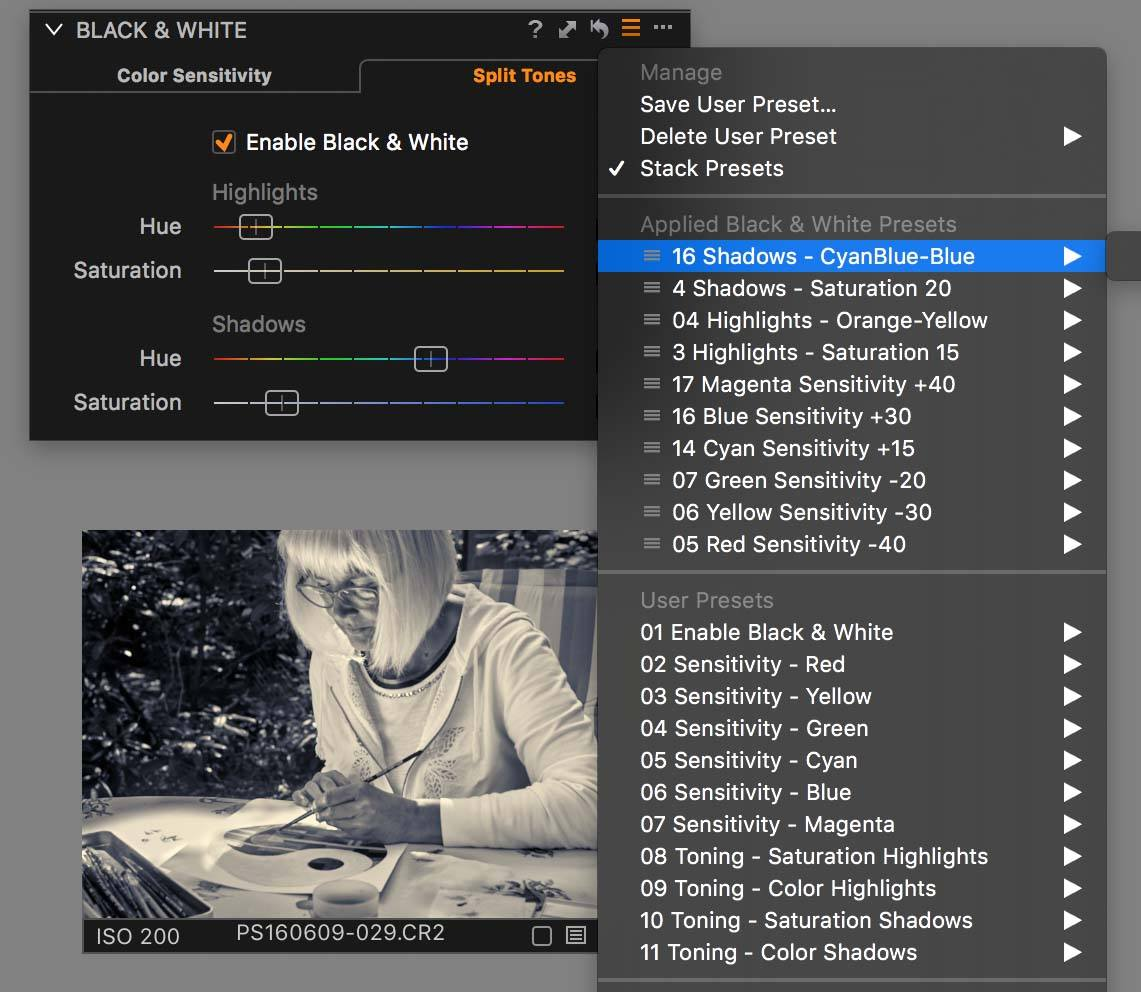 stacking capture one presets, capture one pro 10