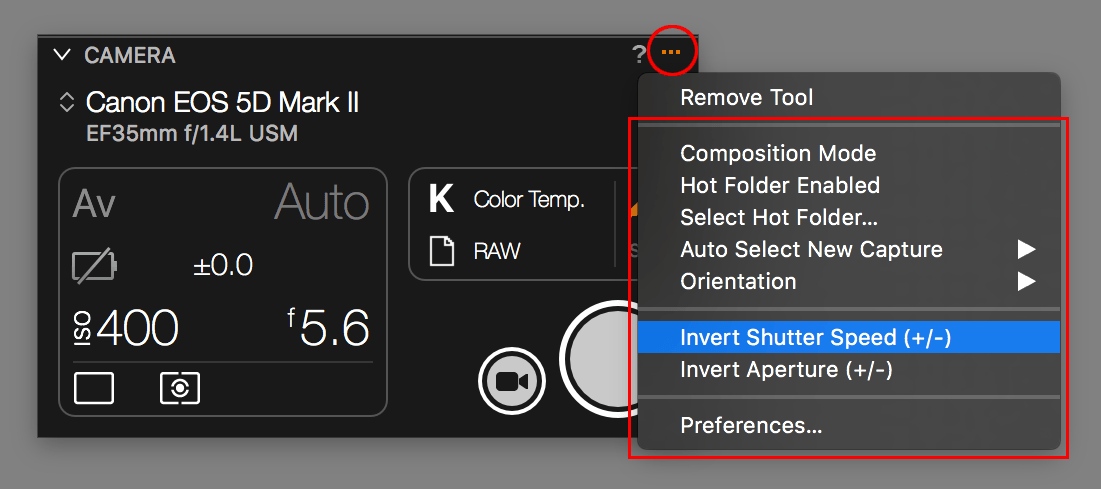 capture one tethering continued, camera tool, action menu