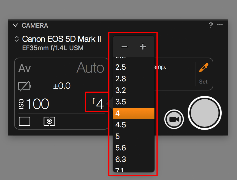 capture one tethering continued, camera tool, aperture list