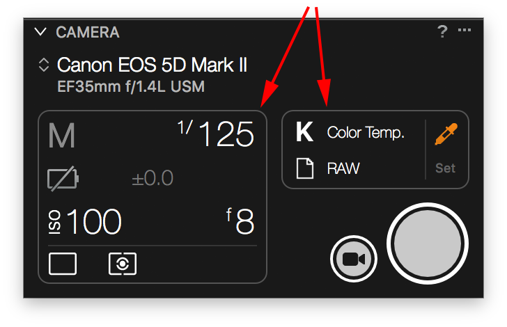 capture one tethering continued, camera tool
