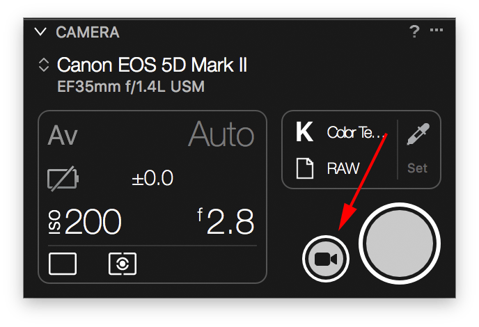 capture one tethering continued, camera tool, live view button
