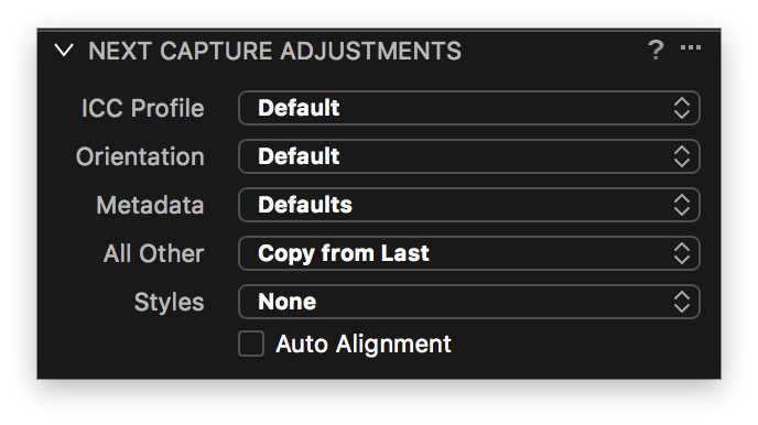 capture one tethering continued, next capture adjustments