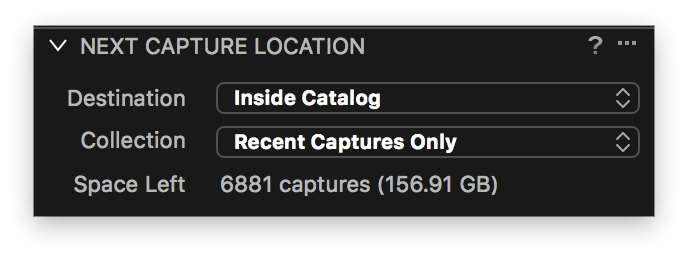 capture one tethering explained, next capture location
