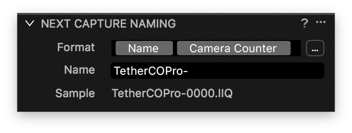 capture one tethering explained, next capture naming tool