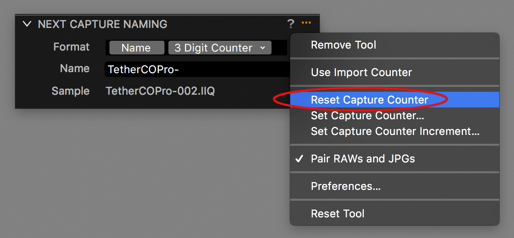 capture one tethering explained, next capture naming tool, action menu