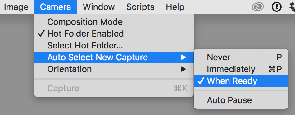capture one tethering in-depth, camera menu