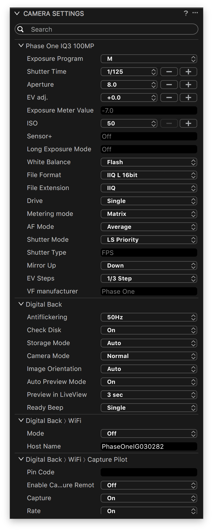 capture one tethering in-depth, camera settings tool