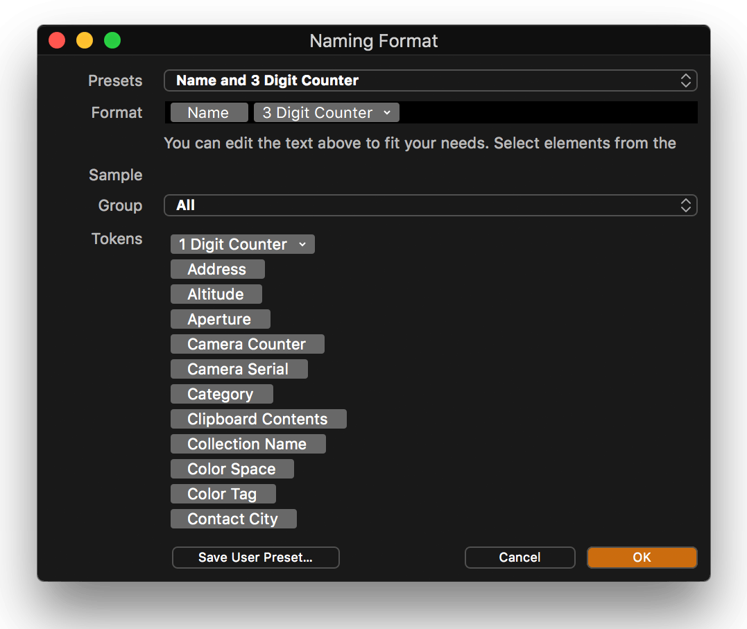 capture one tethering in-depth, naming format dialog