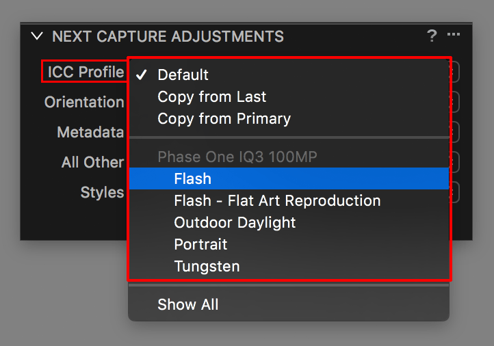 capture one tethering continued, next capture adjustments, icc profile, iq3