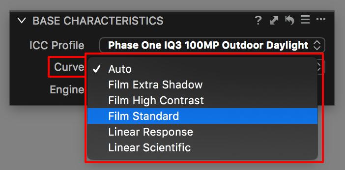 base characteristics tool, curve field