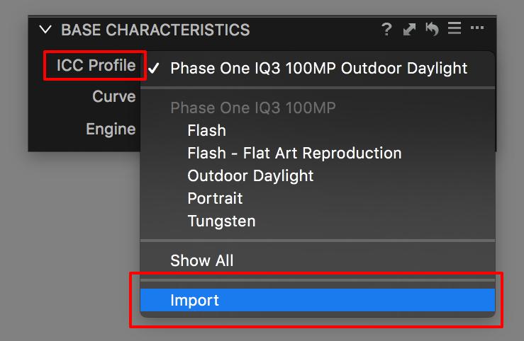 base characteristics tool, import